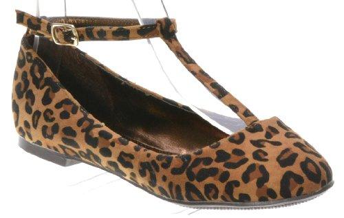Breckelle Cherry-12, Søt T Stropp Komfort Går Overalt Ballerina Flat Leopard