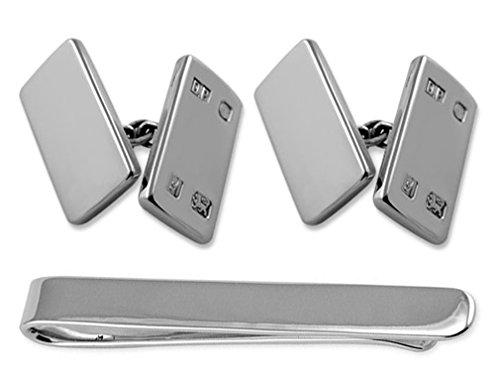 Tie Cufflinks feature Sterling Box Clip sided double silver hallmark Set HvXvTqwYa