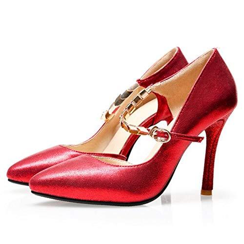 Pointu Bout RAZAMAZA Synthétique Rouge Talon Femmes Brillant Chaussures Aiguille XqZ4ZxIw