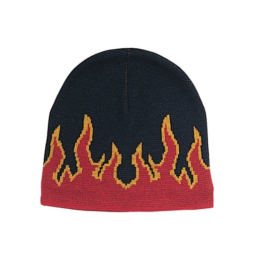 FLAME ON FLEECE BEANIE CAP, Black Red ()