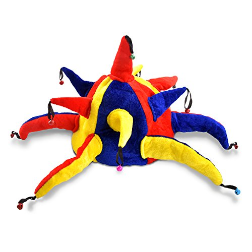 Pinkablu Funny Clown Costume Hat - Court Jester Halloween and Fancy Dress Party Hat