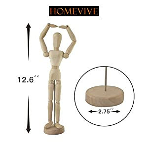 Wooden Figure Model,Human Art Mannequin/Manikins for Drawing,12''female-Up.Made of Seasoned Hardwood,with Base and Flexible Body,a Great Tool for Artists,also Makes an Interesting Desk Decoration