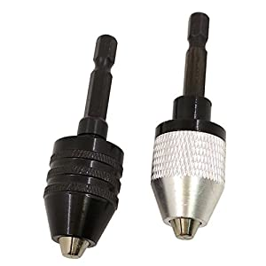 Nizzco 2PCS 0.3-6.5mm Keyless Drill Chuck Conversion Tool,Keyless Conversion Chuck Adapter,1/4-Inch Hex Shank Drill
