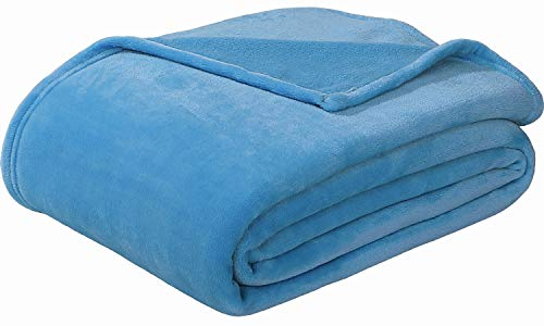 Sedona House Flannel Fleece Blanket Queen Size Teal Color - Luxury Microfiber Flannel Material Super Soft Warm Cozy Lightweight Blanket for Bed Couch or Car