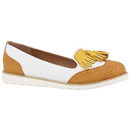 Damen Slipper Loafers Lack Metallic Schuhe Flats Profilsohle Flandell Hellbraun Weiss Gelb