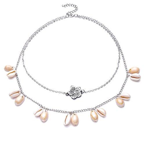 TraveT Bohemia Multi-layer Shell Tassel Choker Necklace for Women Girls - Shell Tassel Necklace
