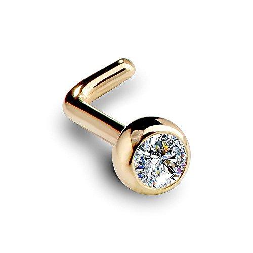 FreshTrends I1 2.5mm 0.06ct. t.w. Diamond Dome Bezel Set Diamond 14K Yellow Gold L-Shape Nose Ring 20G