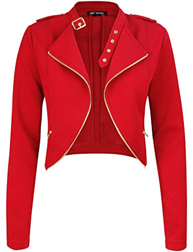 Michel Womens Fleece Jacket Classic Crop Rider Zip UP Jacket RED Large