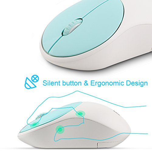 Wireless Keyboard and Mouse Combo, FD iK6630 2.4GHz Cordless Cute Round Key Set Smart Power-Saving Whisper-Quiet Slim Combo for Laptop, Computer,TV and Mac (Mint Green & White) by FD (Image #5)