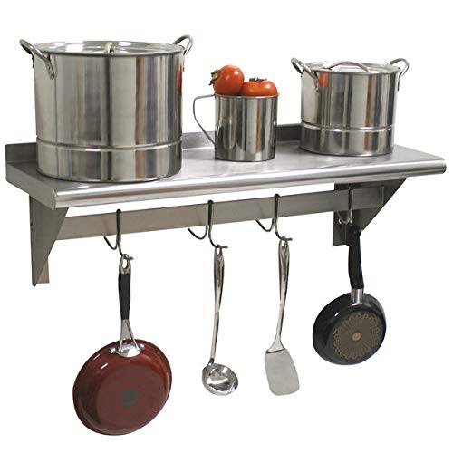 Hakka 15'' x 48'' Commercial Stainless Steel Wall Mounted Pot Rack with Shelf and Hooks by HAKKA FOOD PROCESSING (Image #5)