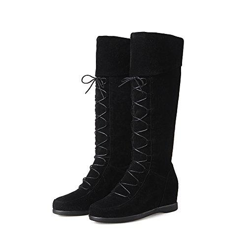 Faux Hidden Lace Boots AIWEIYi Wedge Heels up Knee Black High Suede Womens 5qqxwUZ