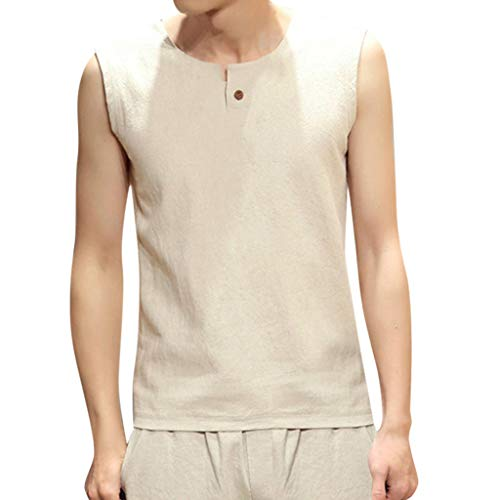 (Wild Solid Color Shirts,Hstore Summer Men's Sleeveless Tops Slim Athletic Shirt Khaki)