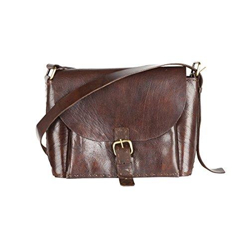 Classic Large Handmade Dark Brown Leather Cross-Body Bag