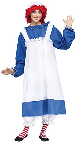 Fun World Costumes Women's Raggedy Ann Costume, Blue/White, Plus Size (Raggady Ann Costume)