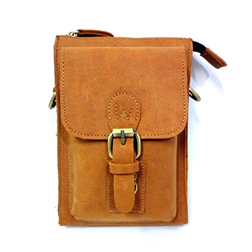 LQUIDE Men's Shoulder Bag Retro Outdoor Diagonal Bag Multi-Function Pocket Can Be Used to Store 7-Inch Mobile Phones,Cigarettes,Wallets,Yellow