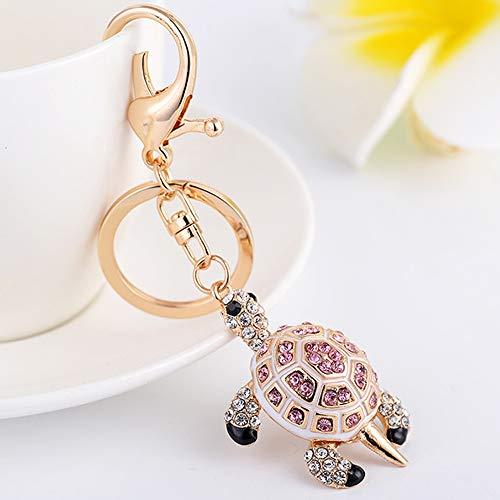 Cute Kawaii Rhinestone Animal Turtles Shape Auto Key Ring Hooks Keychain for Women Purse Bag Charms Ornaments (Pink)