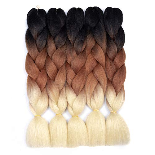 Ombre Braiding Hair Kanekalon Synthetic Braiding Hair Extensions 5 Pcs/Lot 100g/pc 24