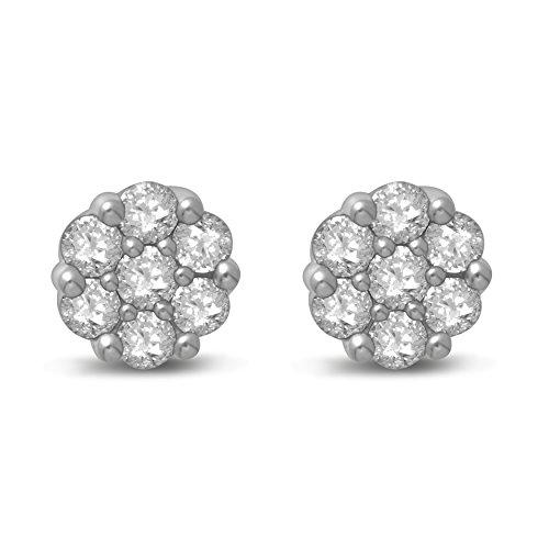 Diamond Jewel 14K Gold Diamond Flower Cluster Stud Great Value ()