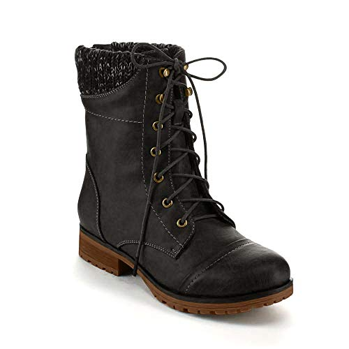 REFRESH Women's WYNNE-06 Sweater Cuff Lace Up Combat Boots