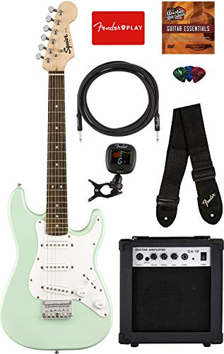 Squier by Fender Mini Strat Electric Guitar – Surf Green Bundle with Amplifier, Instrument Cable, Tuner, Strap, Picks, Fender Play Online Lessons, and Austin Bazaar Instructional DVD