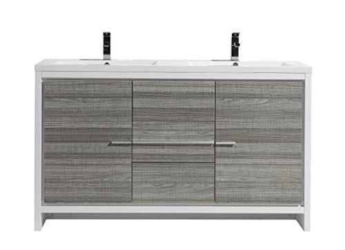 [MORENO MOD 60″ DOUBLE SINK ASH GRAY MODERN BATHROOM VANITY W/ 2 DOORS 3 DRAWERS AND ACRYLIC SINK] (Drawers Double Sink Vanity)