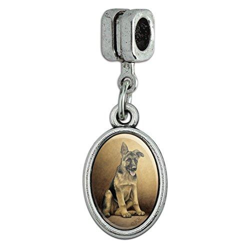 GRAPHICS & MORE German Shepherd Puppy Portrait Italian European Style Bracelet Oval Charm Bead