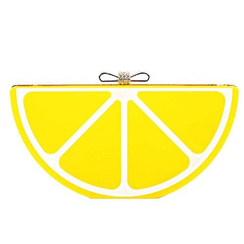 Frutas 3D forma mujeres bolsos banquete embrague noche bolsos bandoleras con cadena Amarillo