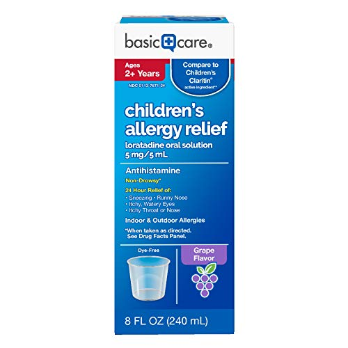 (Basic Care Children's Allergy Relief, Loratadine Oral Solution 5 mg/5 mL, Antihistamine, 8 Ounces)
