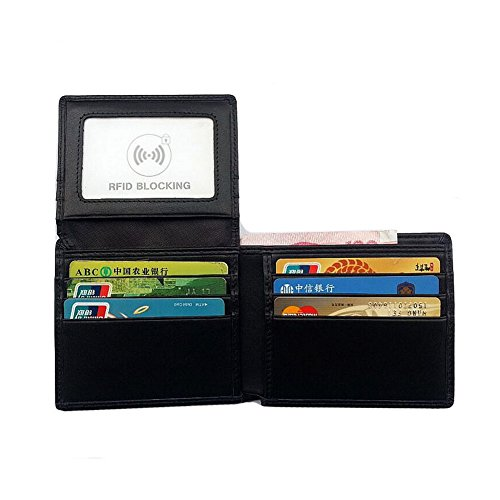 Leather Money Purse H Wallet Genuine Bi RFID Black Cards Holder amp;W Fold Clip Iwqw7v
