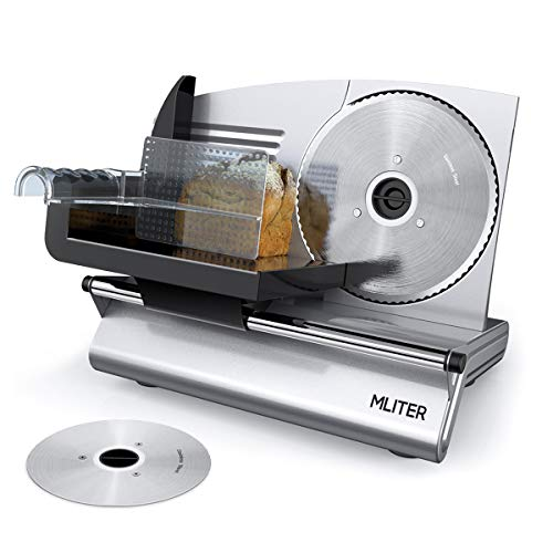 MLITER Electric Meat Slicer with Serrated and Non-serrated Stainless Steel Blades for Bread Vegetables Cheese Deli - Food Slice Thickness Adjustable - 150W by MLITER