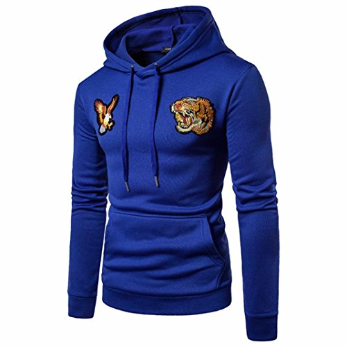 Blue Fleece Men's Shirt Eagle Hooded Long Sweater Sleeve Luoluoluo Tiger Jacket Long Hoodie Sleeved Down BwRqCTZ