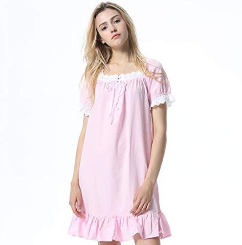 Coreano Notte A Pigiama Lunghe In Con Da Camicia Bianca Pink S Cotone Corte colore Dimensioni Maniche fww4XqU