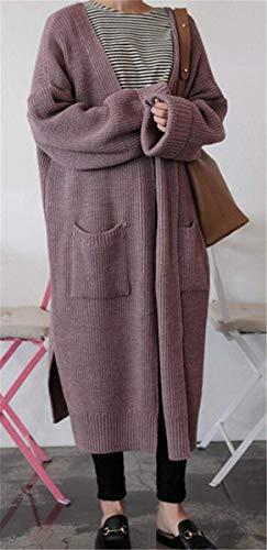 Longues Femme Poches en Hiver Vintage Unicolore Fashion lgant Manteau Longues Automne Tricot Classique Manches Lilas Manteau avec Tricot Casual Cardigan Oversize Outerwear Veste en ROwwqEzU