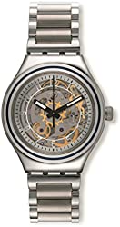 Swatch YAS112G Uncle Charly Silver Gold See Through Dial Steel Unisex Watch NEW