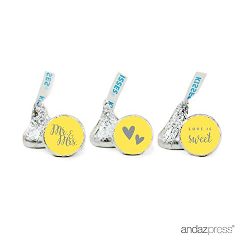 Andaz Press Chocolate Drop Labels Trio, Fits Hershey's Kisses, Wedding Mr. & Mrs., Yellow, 216-Pack, For Bridal Shower, Engagement Party Favors, Gifts, Bags, Stationery, Envelopes, Decor, Decorations ()