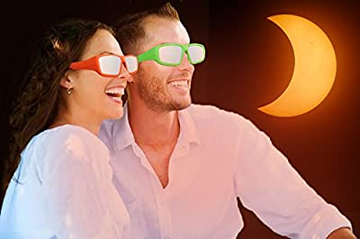 Plastic Hard Frame Solar Eclipse Glasses -- 2 Pack -- Perfect for Wearing over Prescription Glasses -- Eclipse Shades and Wrap Around Goggle -- CE and ISO Certified