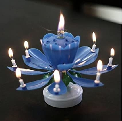 ANKEE R Birthday Candle Blooming Lotus Candles Musical Rotating Amazonca Electronics