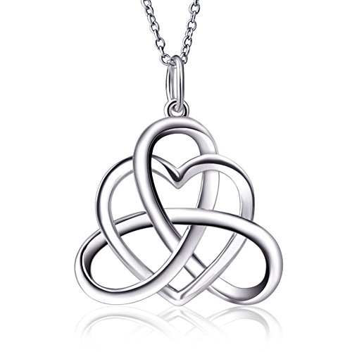 925 Sterling Silver Good Luck Irish Heart with Triangle Celtic Knot Vintage Pendant Necklace, Rolo Chain 18