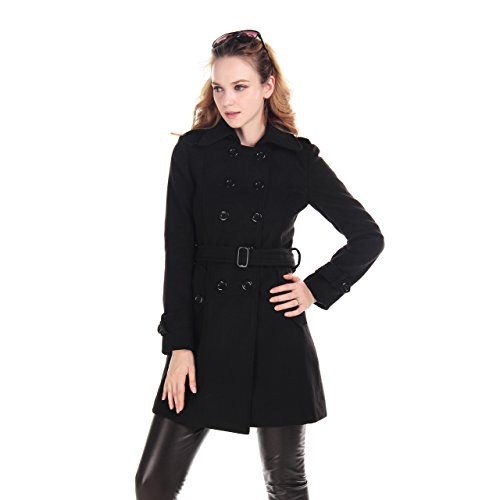 Fashion Women Wool Winter Double-breasted Trench Coat Plus Size Autumn OuterwearLarger Black
