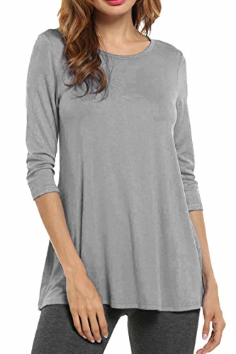 Grey Tunic Top (Hotouch Women's Flared Comfy Loose Fit Tunic Top Grey XL)