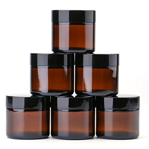 2 oz Round Glass Jars (6 Pack) - Empty Cosmetic Containers with Inner Liners, black Lids and Glass Sample Jars with lables (Amber) by THETIS Homes