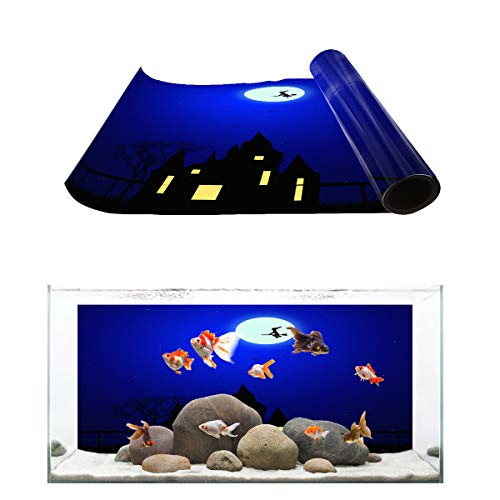 Fantasy Star Aquarium Background Halloween Night Witch and Castle Fish Tank Wallpaper Easy to Apply and Remove PVC Sticker Pictures Poster Background Decoration 18.4