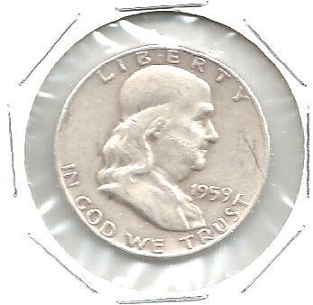 1959 D SILVER 1/2 OZ FRANKLIN HALF DOLLAR COIN EF - EXTREMELY FINE