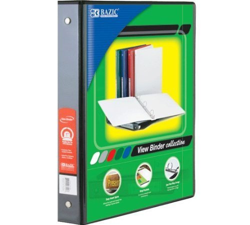 Bazic Products 3147-12 1.5 in. Black 3-Ring View Binder with 2-Pockets - Pack of 12 by bulk buys