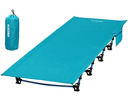 (MARCHWAY Ultralight Folding Tent Camping Cot Bed, Portable Compact for Outdoor Travel, Base Camp, Hiking, Mountaineering, Lightweight Backpacking (Blue) )