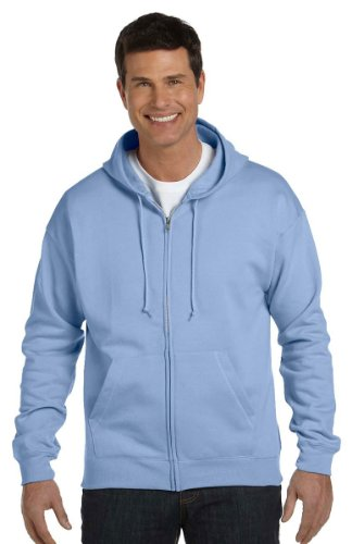 Blue Zip Hoodie (Hanes by ComfortBlend EcoSmart Full Zip Hoodie_Light Blue_XL)