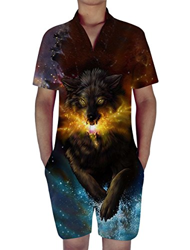 RAISEVERN Mens Wolf 3D Print Zip Up Jumpsuit Short Cargo Pants Rompers Slim Fit Party Overalls Boyfriend - Usps 3 Day Tracking