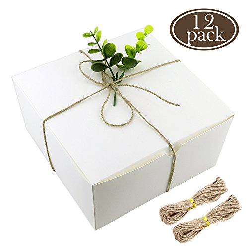 BAKHUK White Boxes Gift Boxes 12 Pack 8x8x4 Inches, Paper Gift Boxes with Lids for Gifts, Cupcake Boxes, Crafting