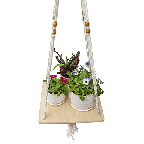 Soga Macrame Shelf Hanging Planter with Decorative Beads - Plant Hanger Indoor - Boho Bohemian Home Decor for Succulent, Air Plants, Cacti, Herbs, Small Plants (Natural Pine)