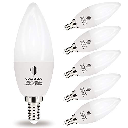 LED Candelabra Bulbs E12 Chandelier Bulbs B11 Candle Shape Decorative 6W=60W Replacement.2700K Warm White Small Light Bulb,Pack of 6(2700K)